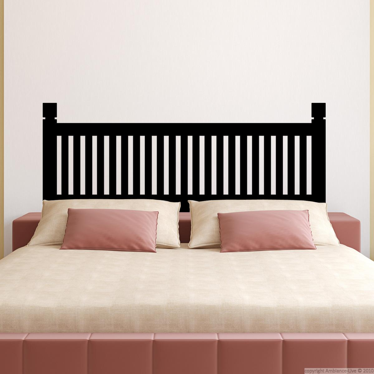 sticker t te de lit imitation bois. Black Bedroom Furniture Sets. Home Design Ideas