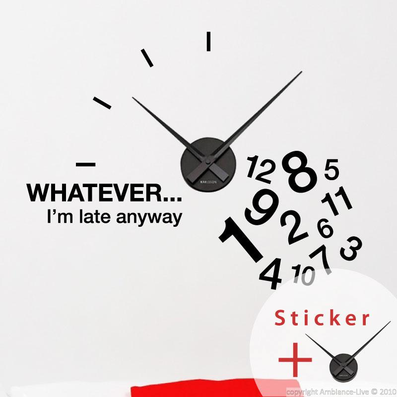 sticker horloge whatever i m late anyway sticker. Black Bedroom Furniture Sets. Home Design Ideas