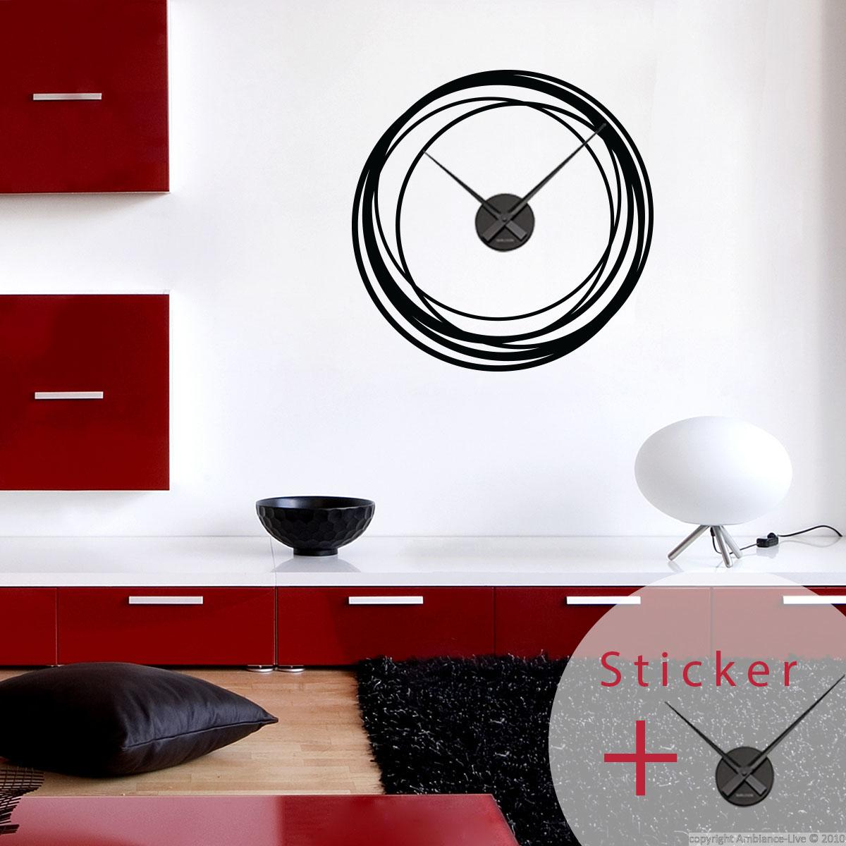 sticker horloge cercles stickers horloges ambiance. Black Bedroom Furniture Sets. Home Design Ideas