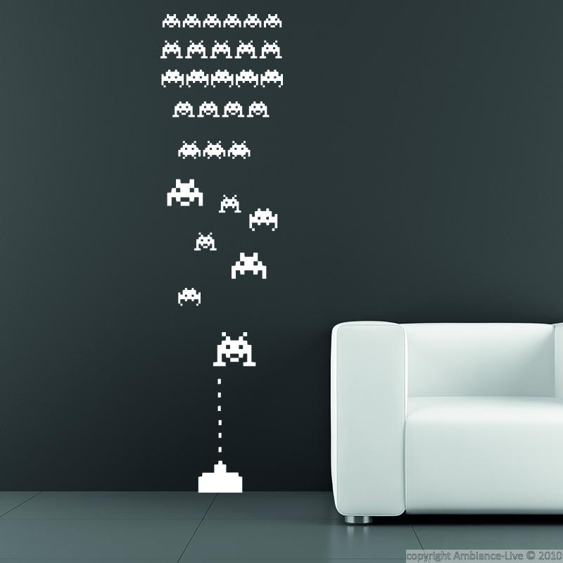 Wall decals for kids space invaders wall decal ambiance - Space invader wall stickers ...