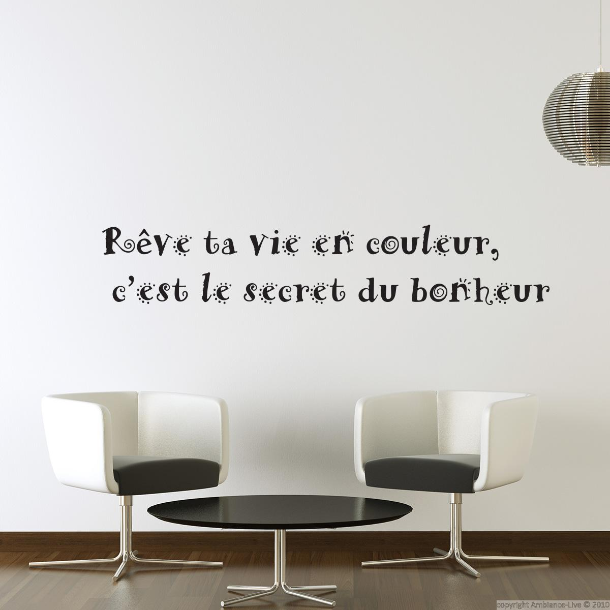 stickers muraux citations sticker r ve ta vie en couleurs ambiance. Black Bedroom Furniture Sets. Home Design Ideas