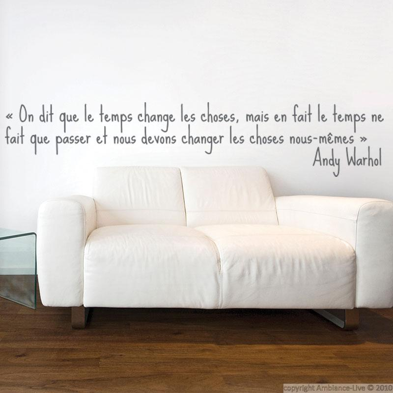 stickers muraux citations sticker mural le temps ambiance. Black Bedroom Furniture Sets. Home Design Ideas