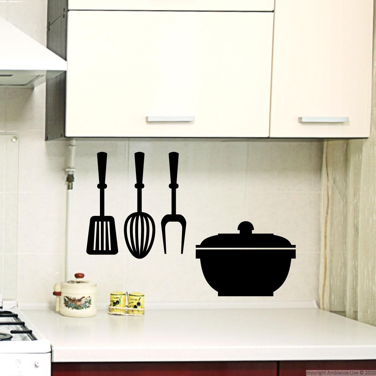 Wall Stickers Kitchen Design : Wall decals for the kitchen decal pot and utensils