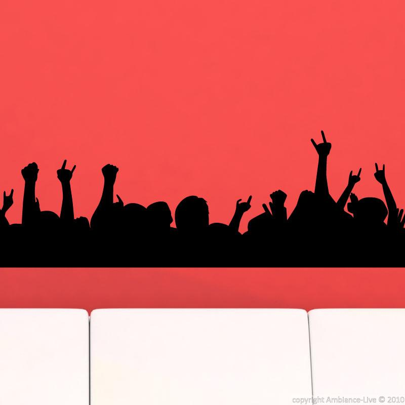 Wall decals music wall decal concert crowd ambiance for Concert wall mural