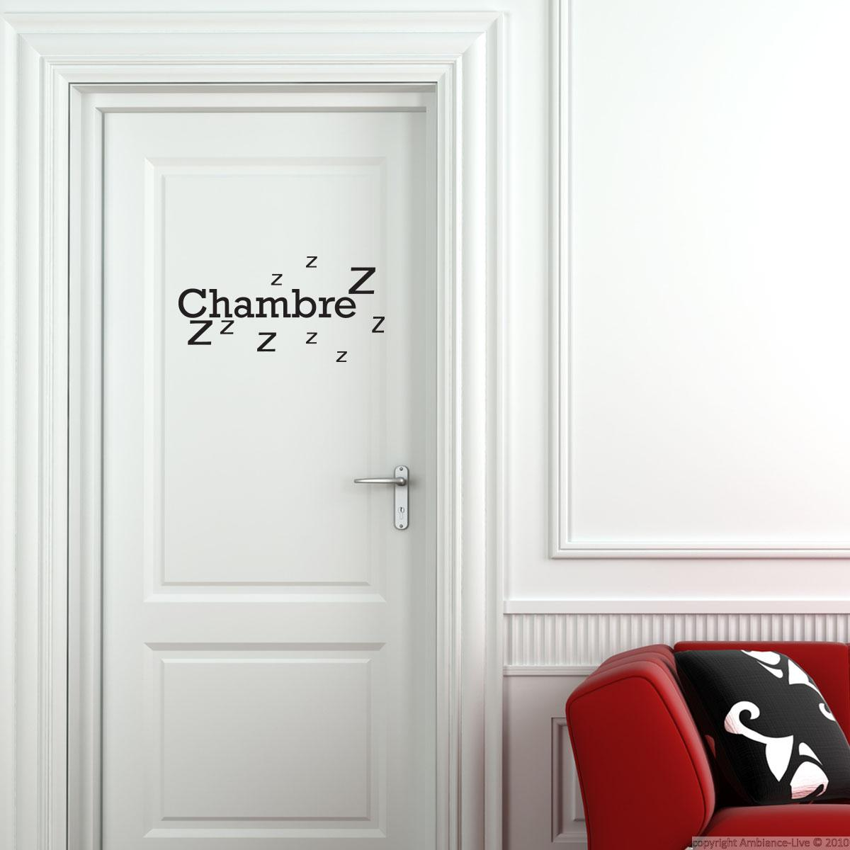 Sticker porte chambre zzz stickers chambre ado gar on for Porte interieur chambre