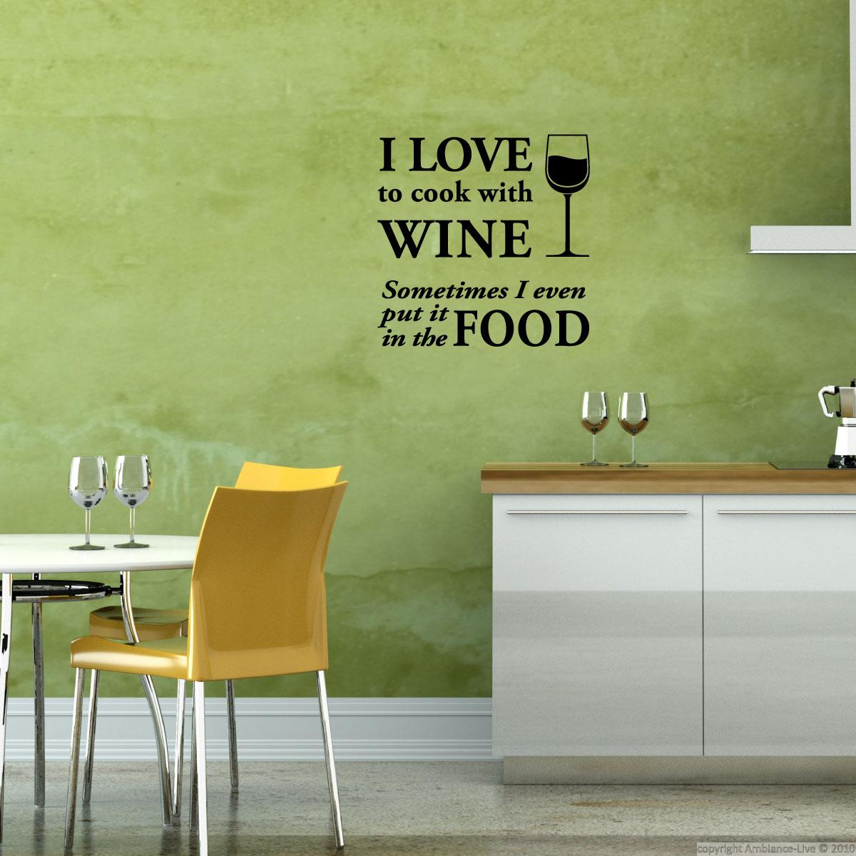 wall decals with quotes wall decal i love to cook with wine ambiance. Black Bedroom Furniture Sets. Home Design Ideas