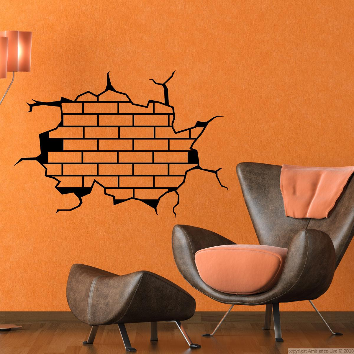 Wall decal brick wall design wall decal art and design for Brick wall decal mural