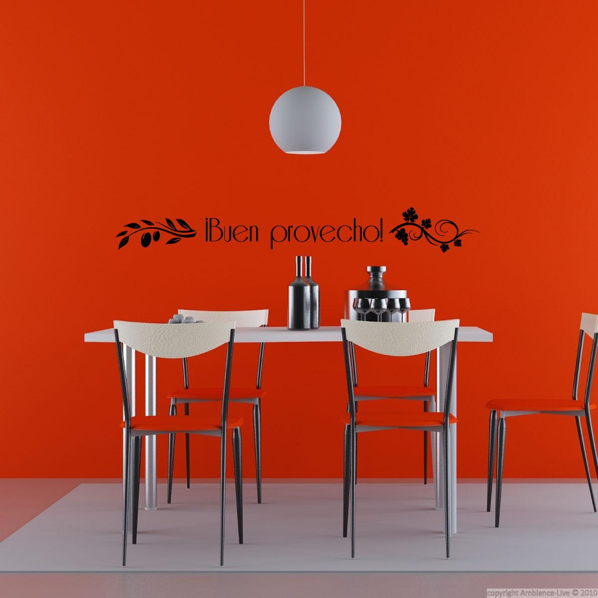 Wall decal buen provecho decoration wall decals for Ambiance decoration