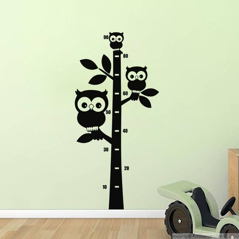 sticker toise 3 hiboux sur un arbre stickers animaux ambiance sticker. Black Bedroom Furniture Sets. Home Design Ideas