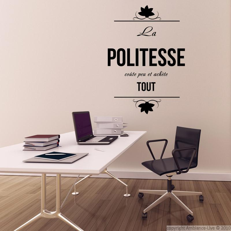 stickers muraux citations sticker la politesse coute ambiance. Black Bedroom Furniture Sets. Home Design Ideas