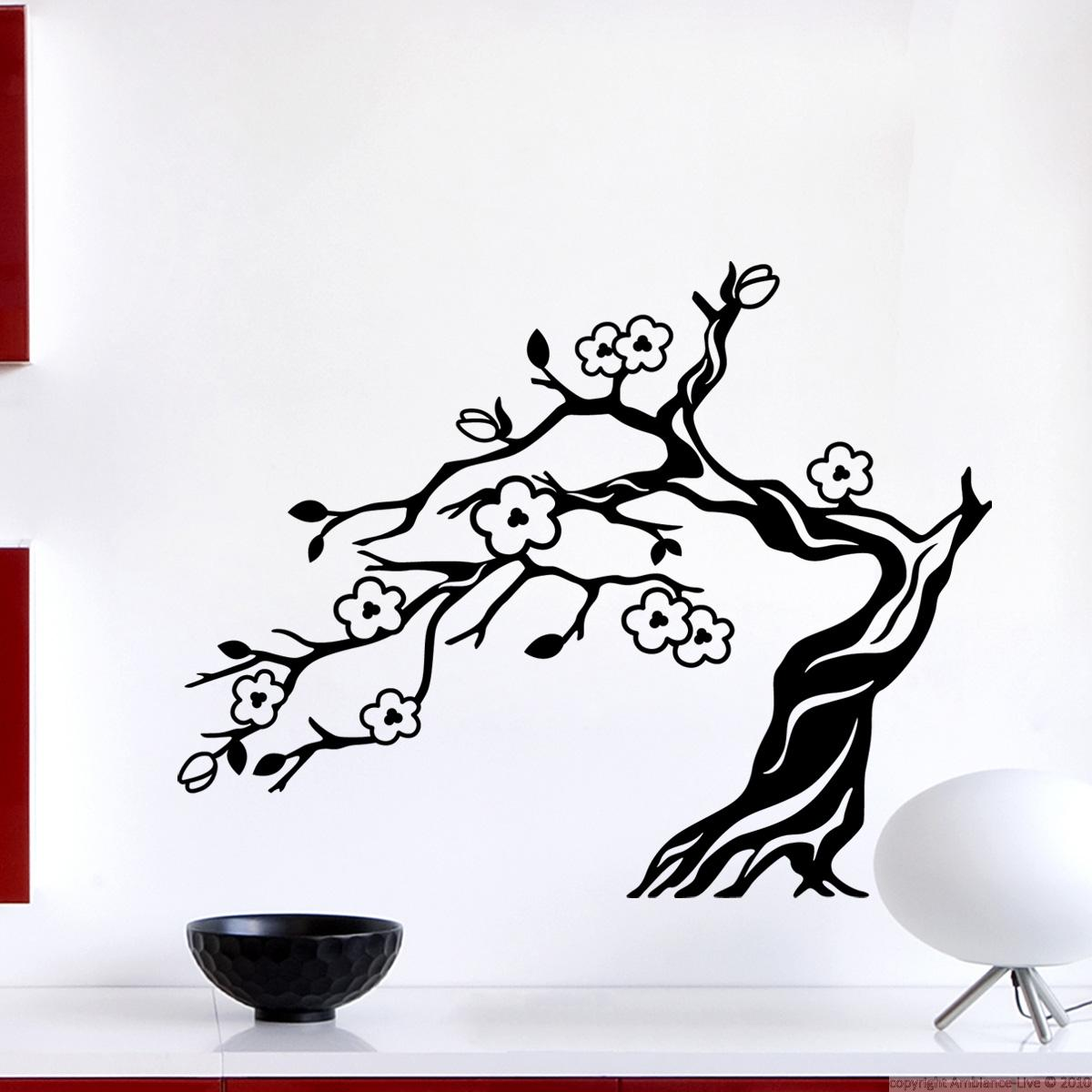 stickers muraux fleurs sticker bonsai sakura ambiance. Black Bedroom Furniture Sets. Home Design Ideas