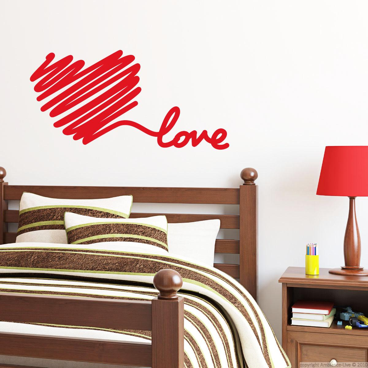 stickers muraux pour chambre sticker mural amour de coeur de griffonnage ambiance. Black Bedroom Furniture Sets. Home Design Ideas
