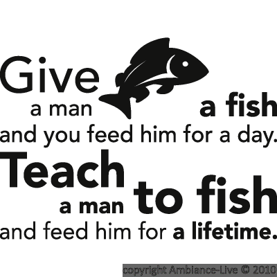 Wall decals with quotes wall decal teach a man to fish for Teach a man to fish