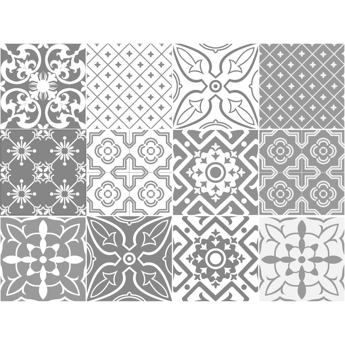 12 stickers carreaux de ciment nuances de gris santa cruz salle de bain et wc salle de bain. Black Bedroom Furniture Sets. Home Design Ideas