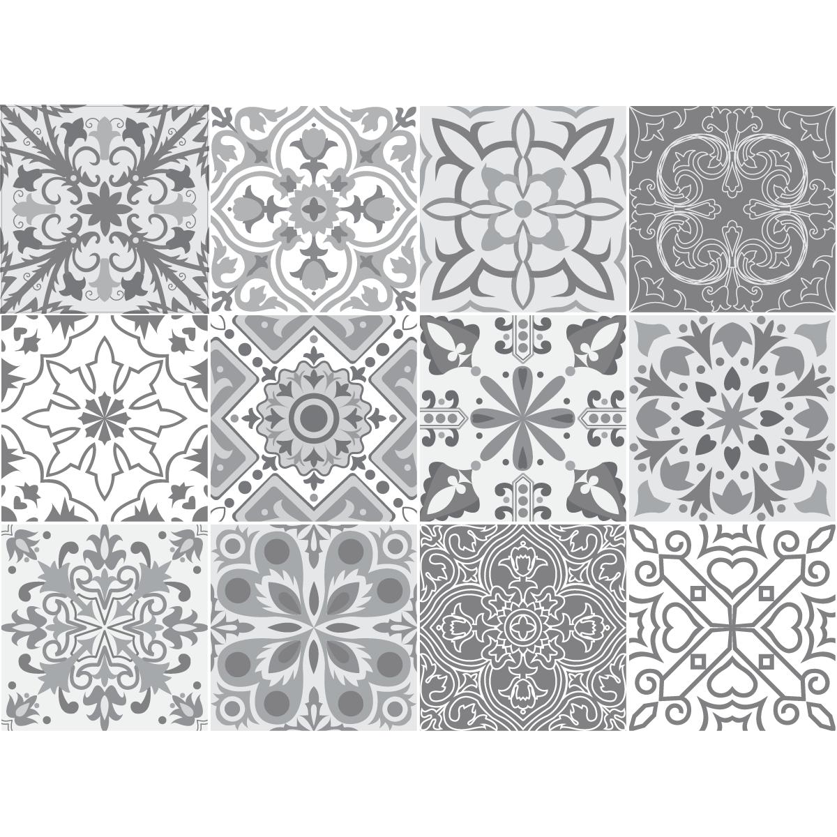 carrelage adhesif carreaux de ciment 12 stickers carreaux de ciment nuances de gris torino