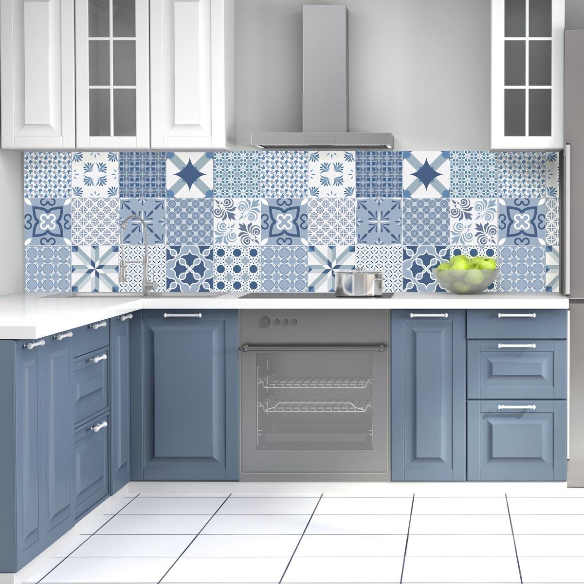 Carreau De Ciment Toilette 15 stickers carreaux de ciment bleu anvers