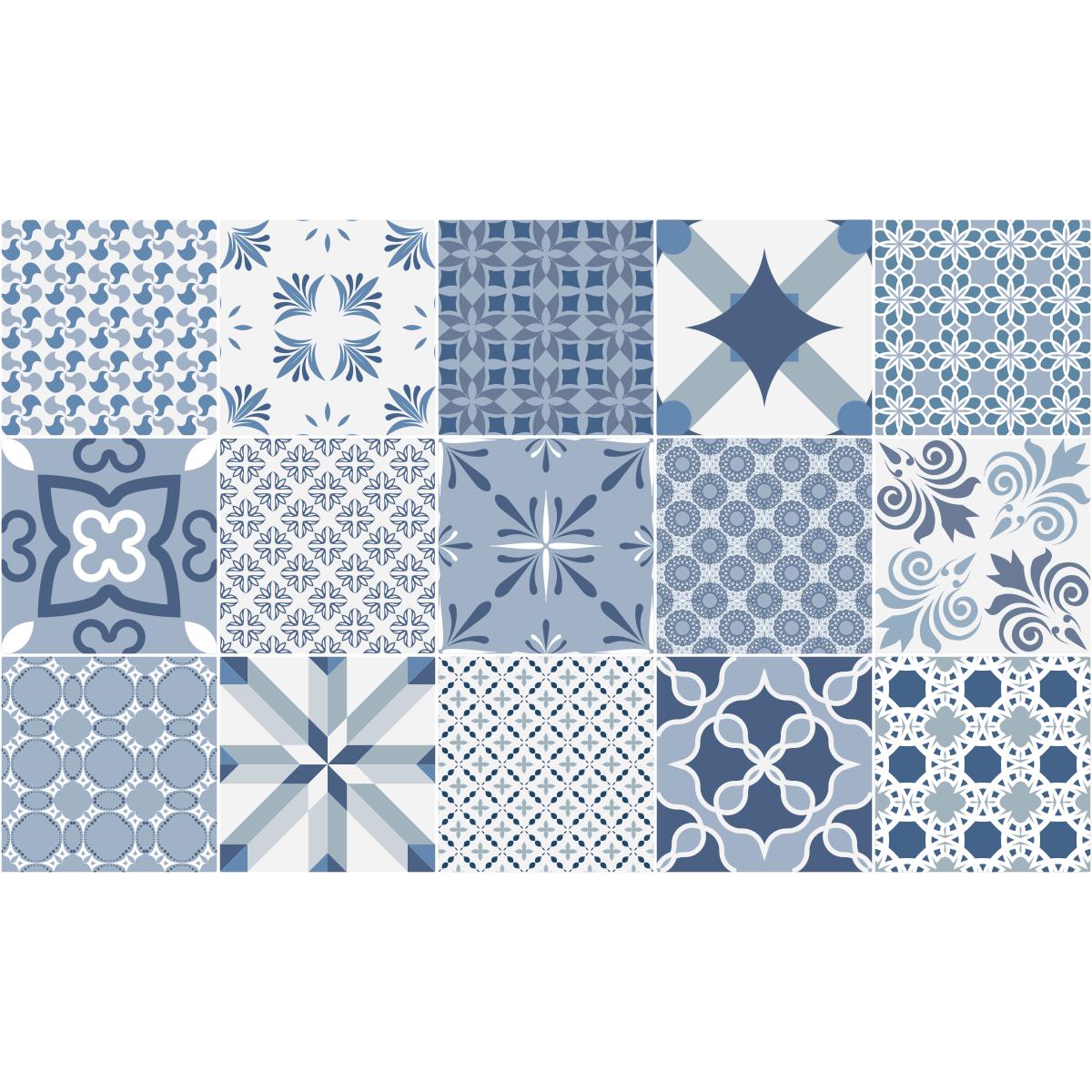15 stickers carreaux de ciment bleu anvers stickers art. Black Bedroom Furniture Sets. Home Design Ideas