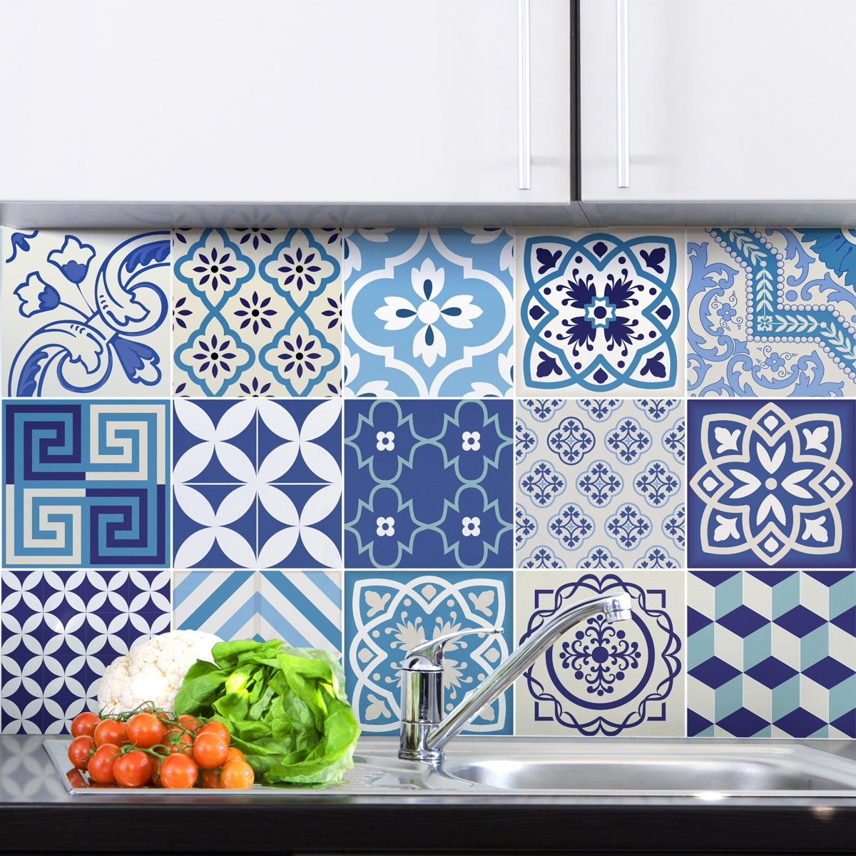 Stickers Carrelage Cuisine: 15 Stickers Carrelages Azulejos Vintage Bleu D'Azure