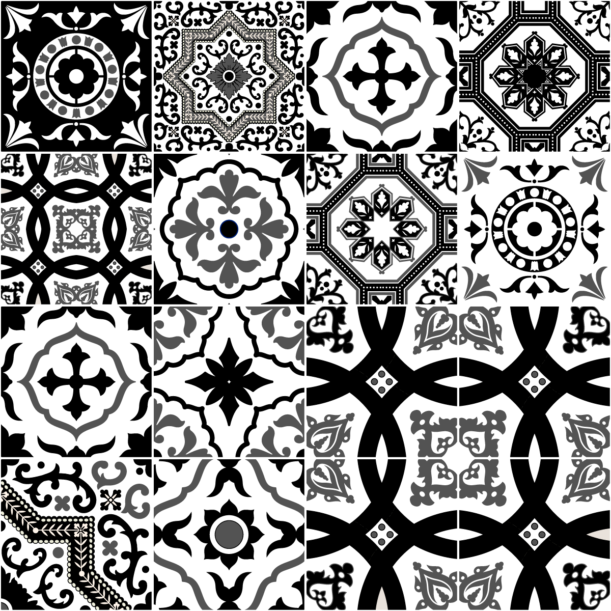 16 stickers carrelages azulejos modernes nuance noir et blanc art et design artistiques. Black Bedroom Furniture Sets. Home Design Ideas
