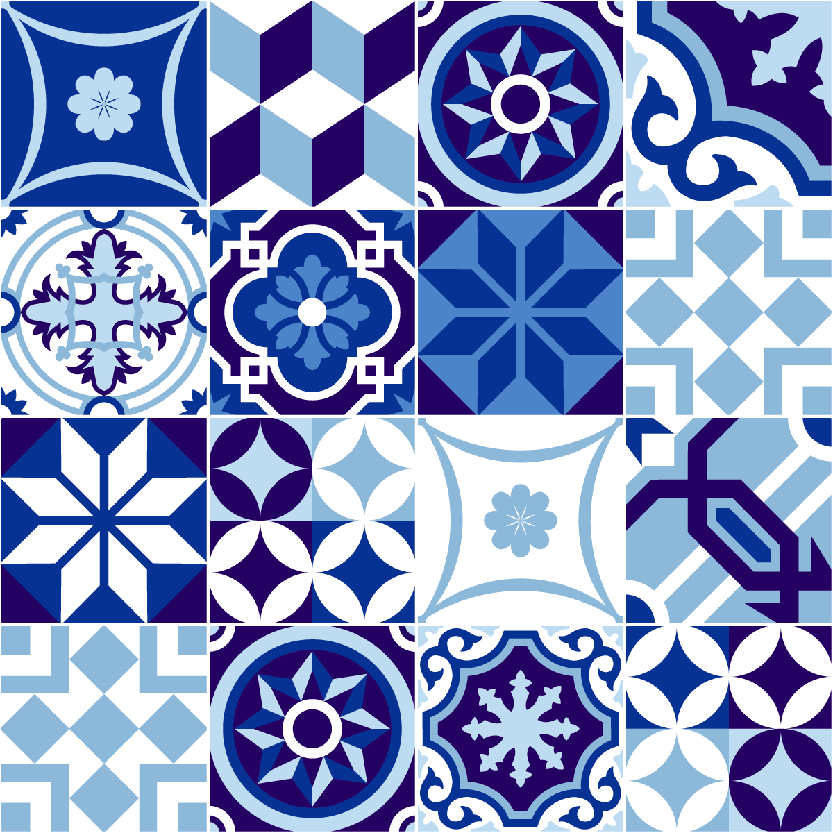 16 stickers carrelages azulejos nuance de bleu stickers. Black Bedroom Furniture Sets. Home Design Ideas