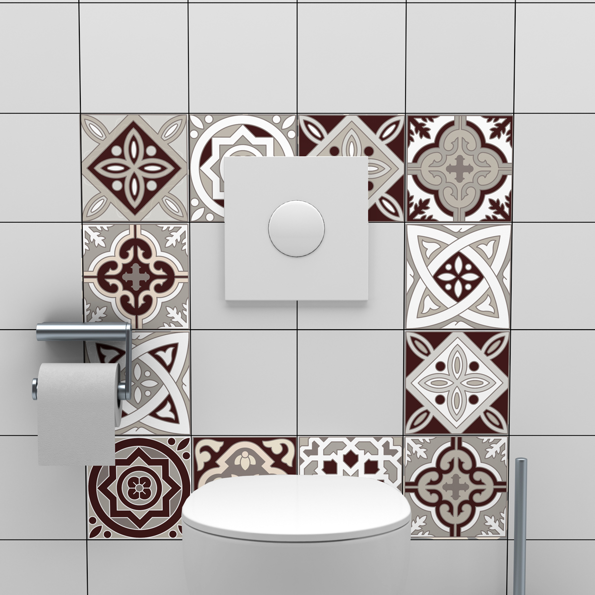 Carreau De Ciment Toilette 24 stickers carreaux de ciment amazonas