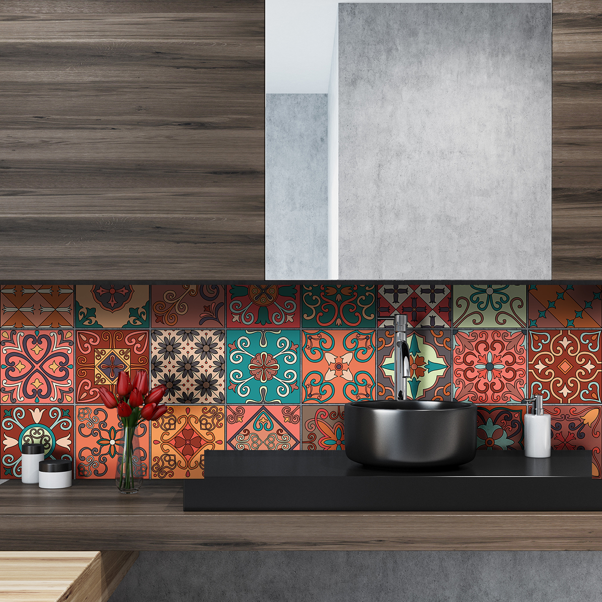 24 stickers carreaux de ciment azulejos giordano cuisine carrelages ambiance sticker. Black Bedroom Furniture Sets. Home Design Ideas