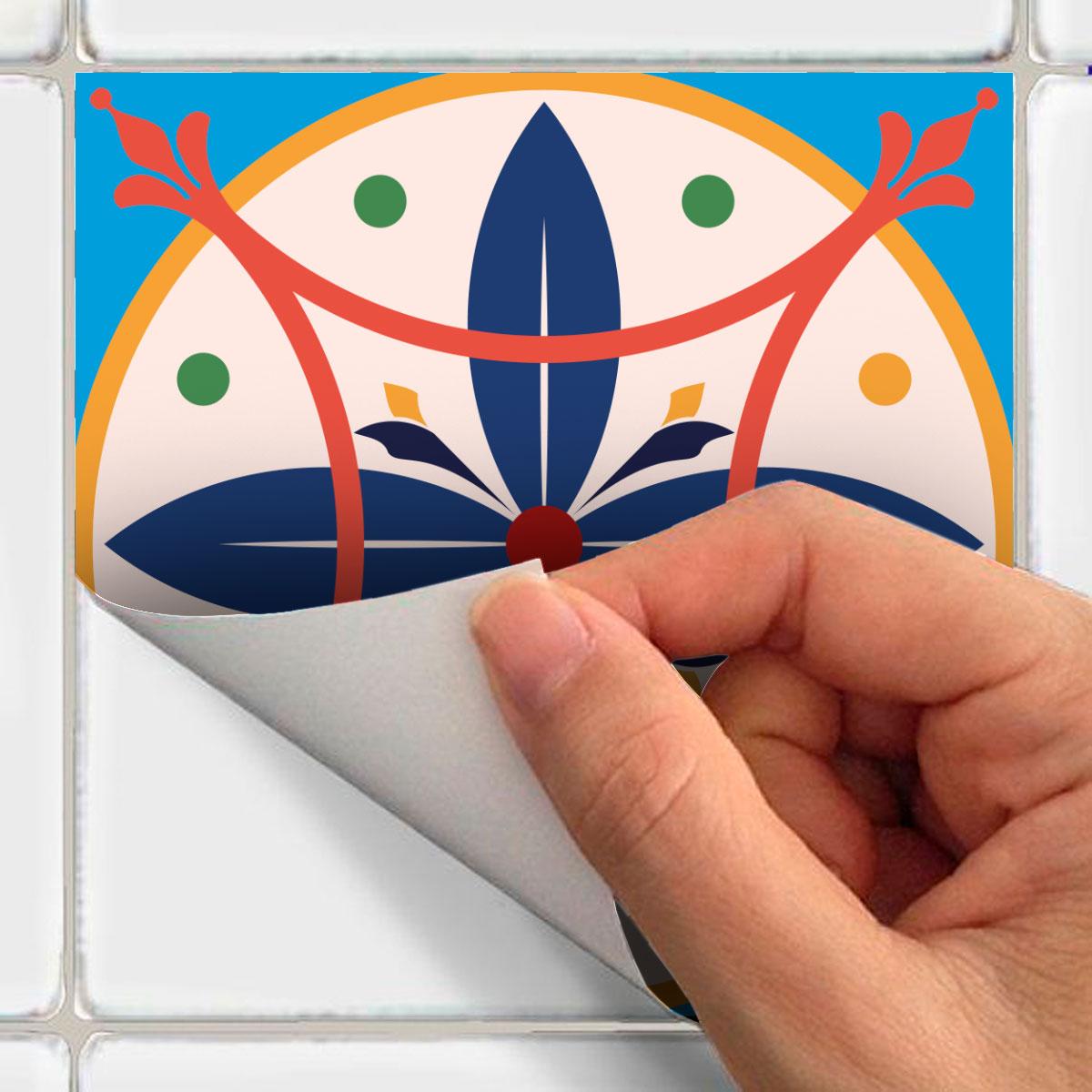 24 stickers carreaux de ciment azulejos lidina cuisine carrelages ambiance sticker. Black Bedroom Furniture Sets. Home Design Ideas