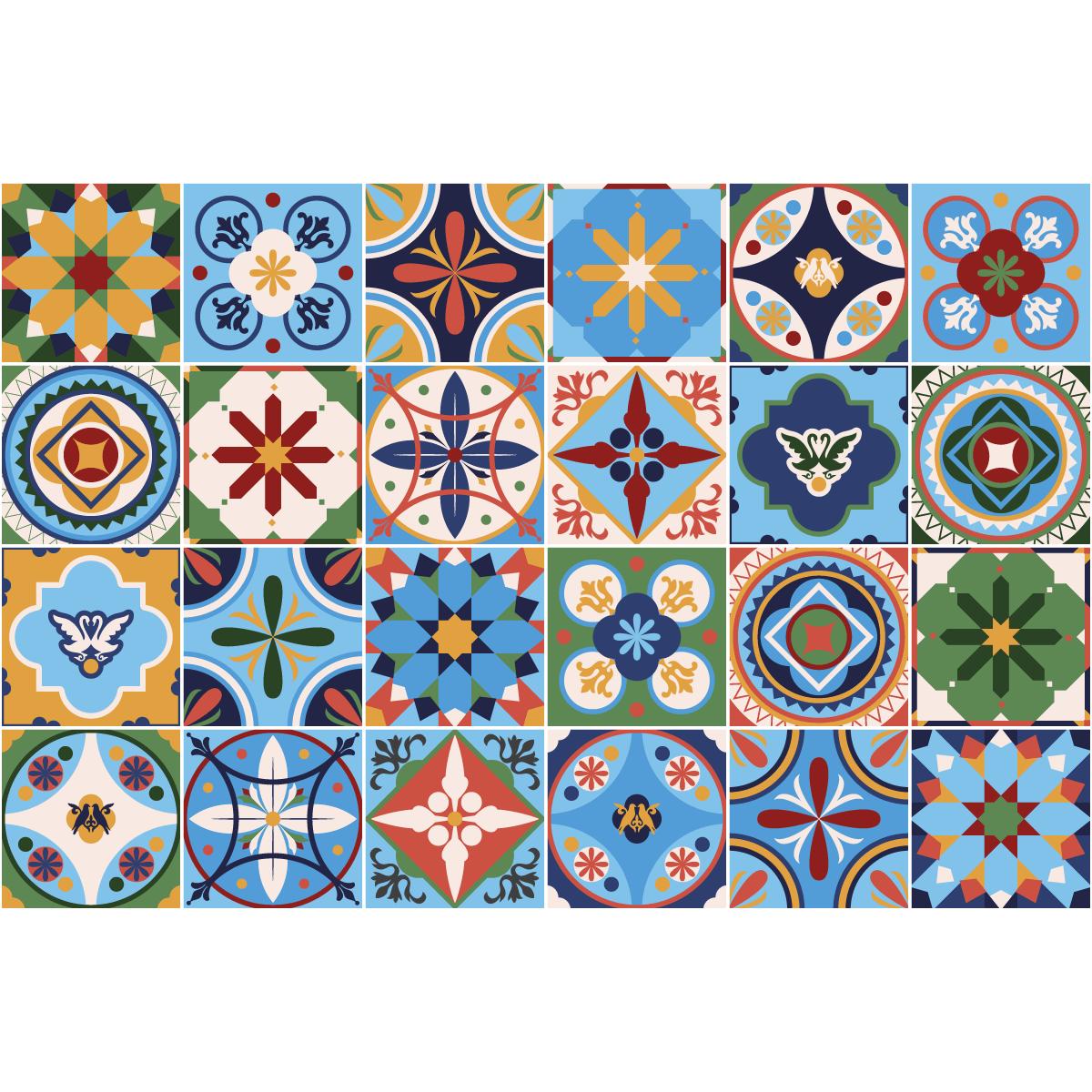 24 Stickers Carreaux De Ciment Azulejos Lidina Cuisine Carrelages