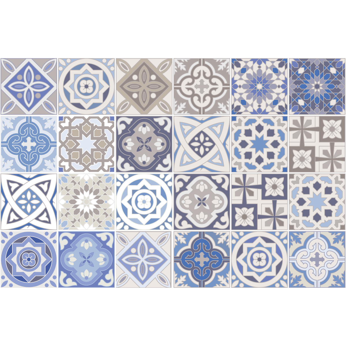 24 stickers carreaux de ciment honduras salle de bain et. Black Bedroom Furniture Sets. Home Design Ideas