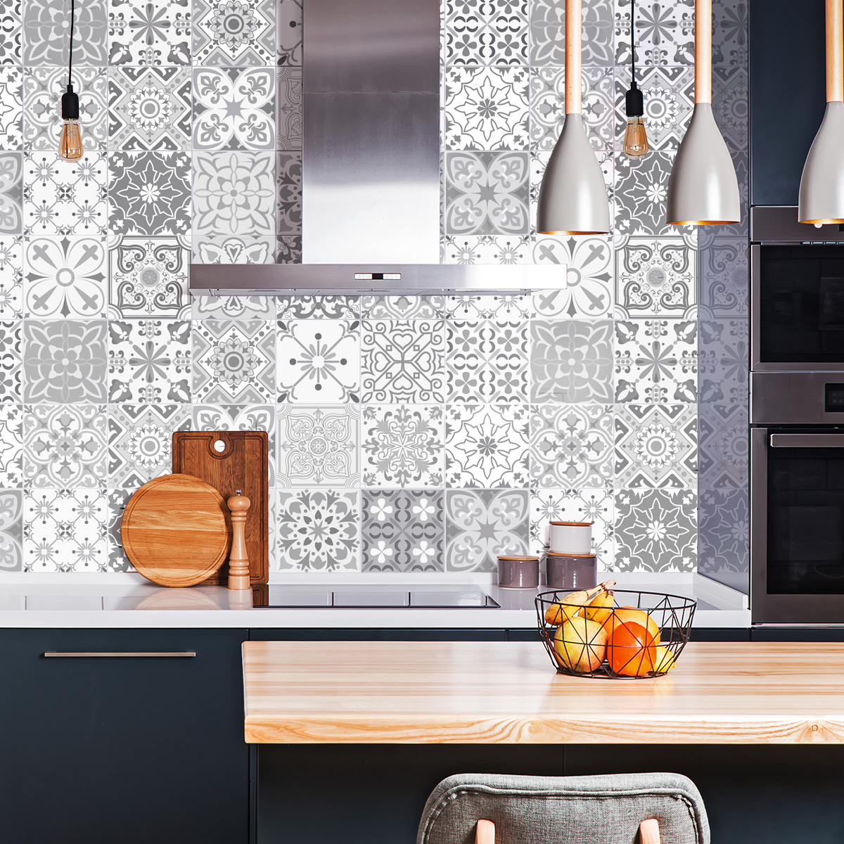 Stickers Carrelage Cuisine: 24 Stickers Carreaux De Ciment Nuances De Gris Gythio
