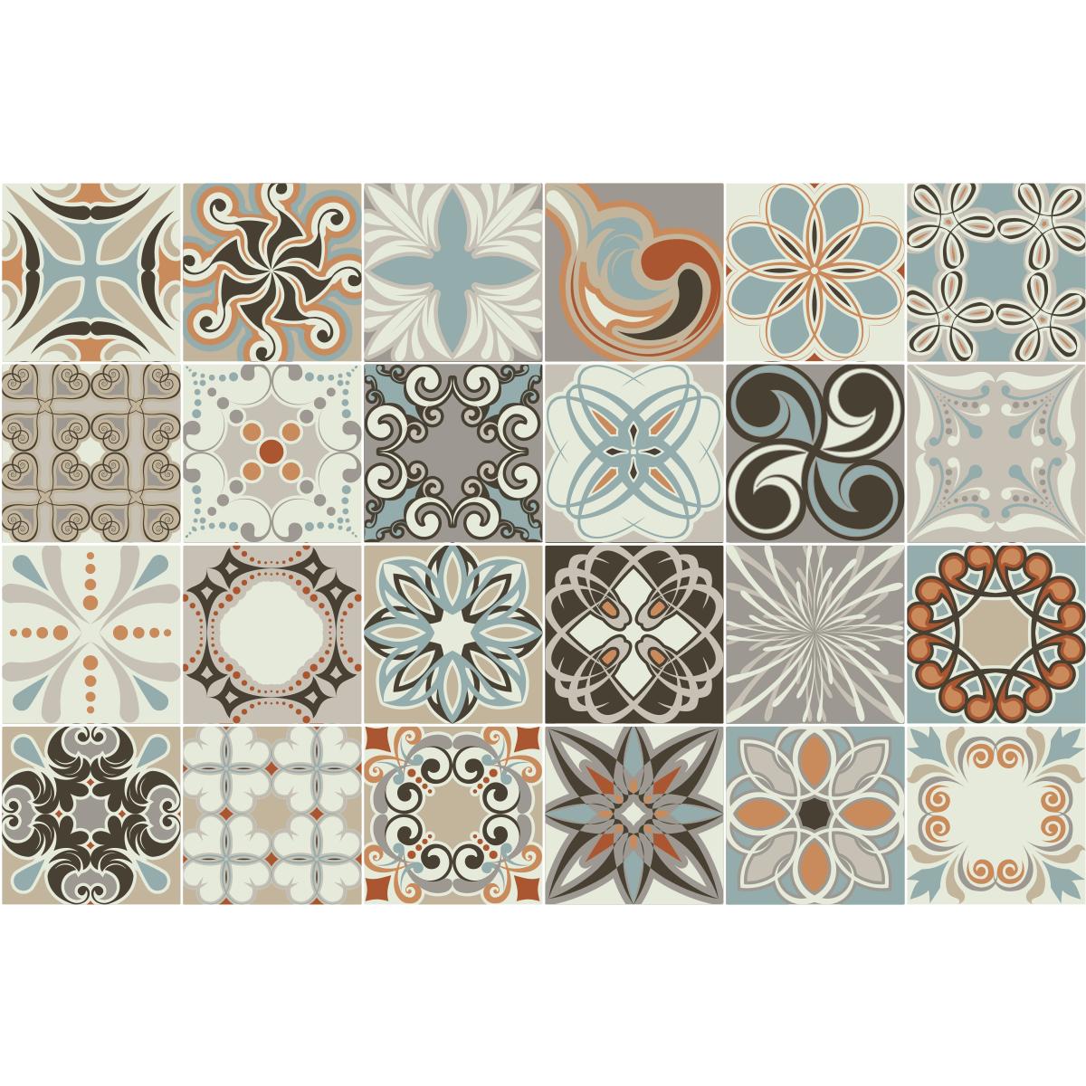 24 stickers carreaux de ciment rumba salle de bain et wc. Black Bedroom Furniture Sets. Home Design Ideas