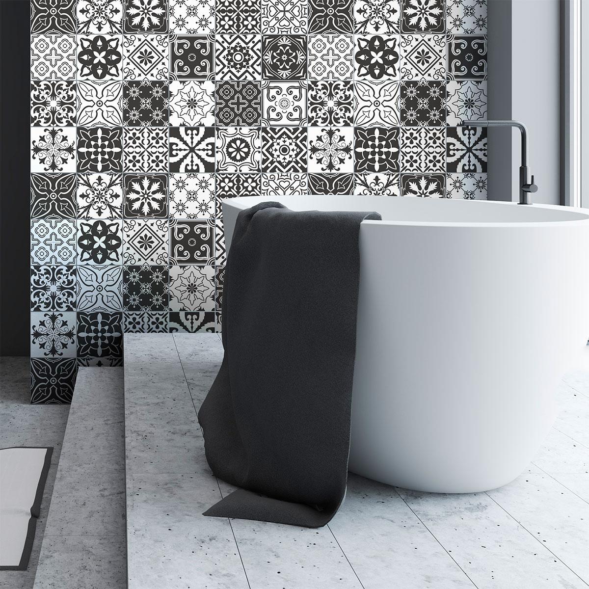 24 stickers carrelages azulejos amali da salle de bain Stickers carrelage salle de bain