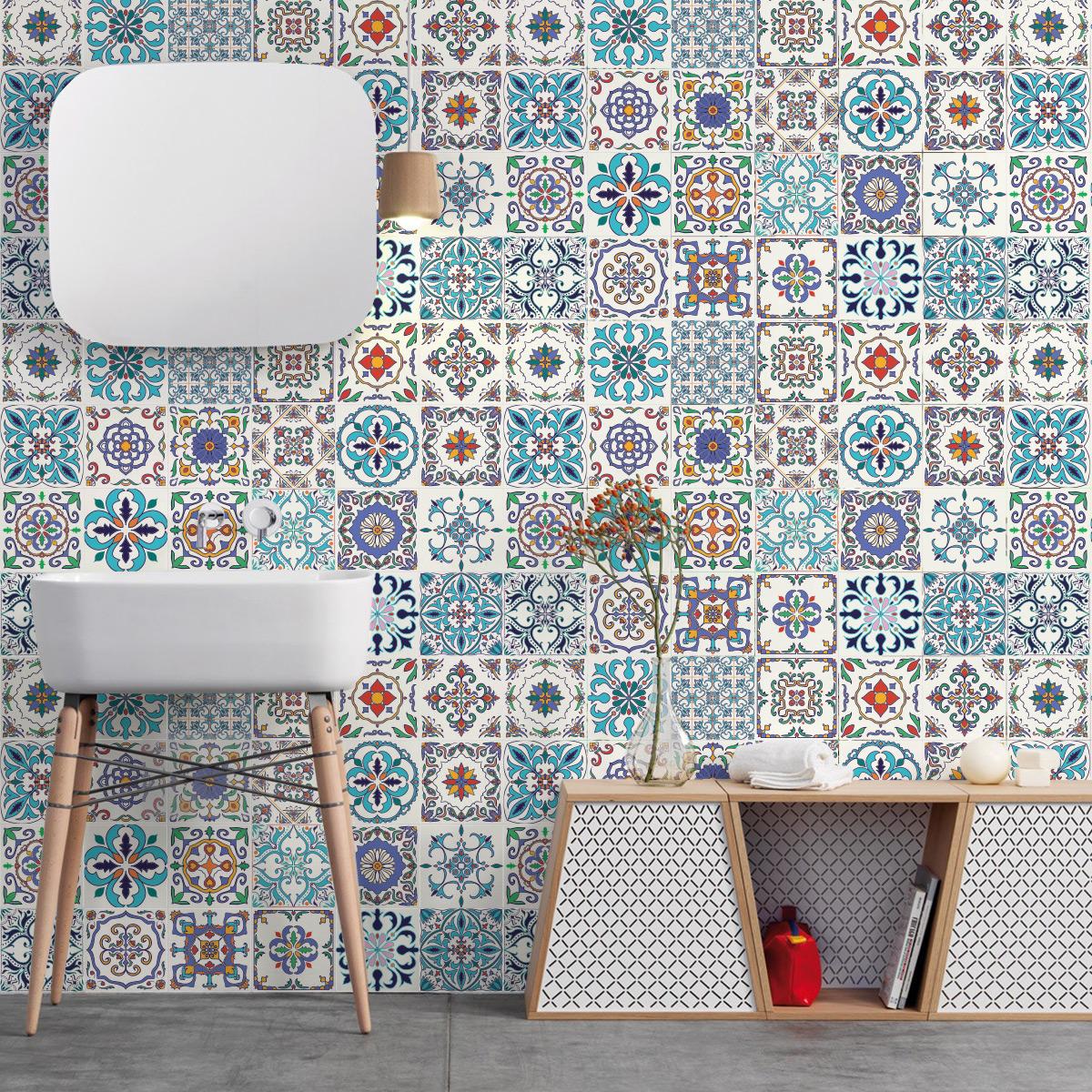 24 Stickers Carrelages Azulejos Athena Salle De Bain Et Wc Salle