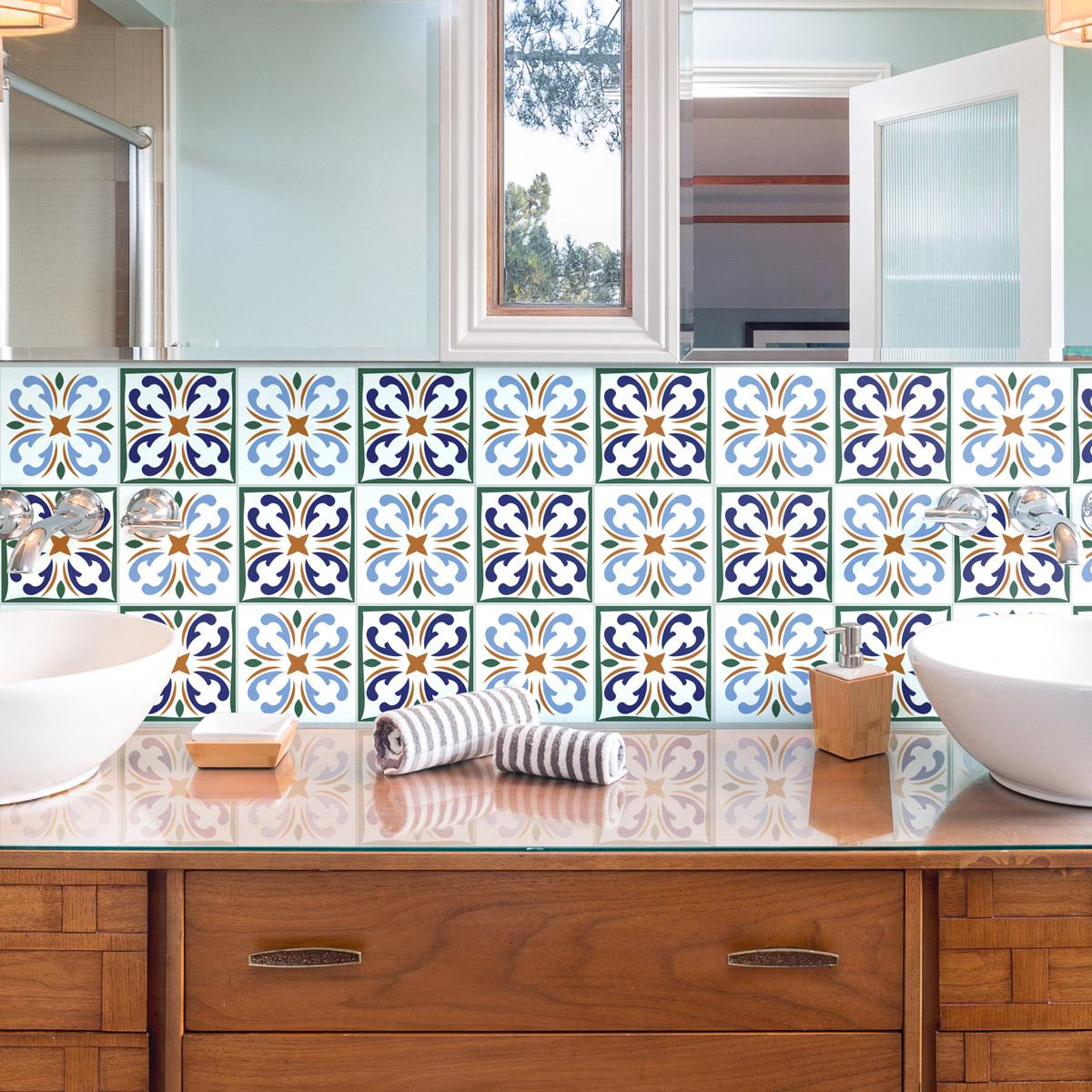 24 stickers carrelages azulejos faro salle de bain et wc - Stickers sur carrelage salle de bain ...
