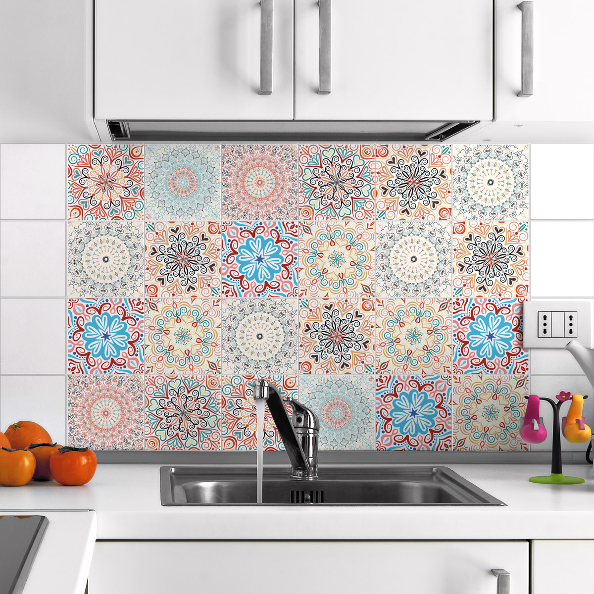 Stickers Carrelage Cuisine: 24 Stickers Carrelages Azulejos Ornements Florales