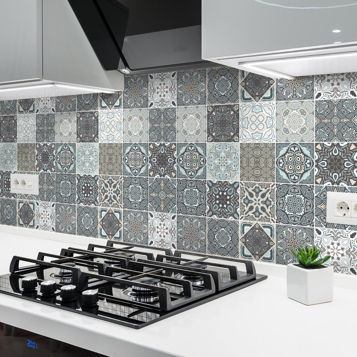 24 stickers carrelages azulejos saturino cuisine - Stickers cuisine carrelage ...