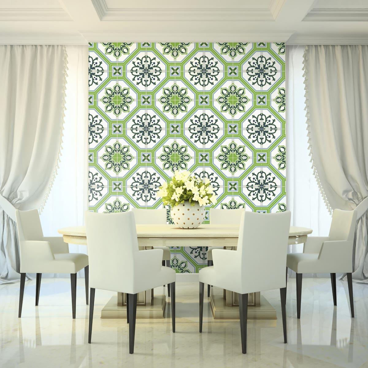 24 stickers carrelages azulejos vert lisbonne stickers. Black Bedroom Furniture Sets. Home Design Ideas