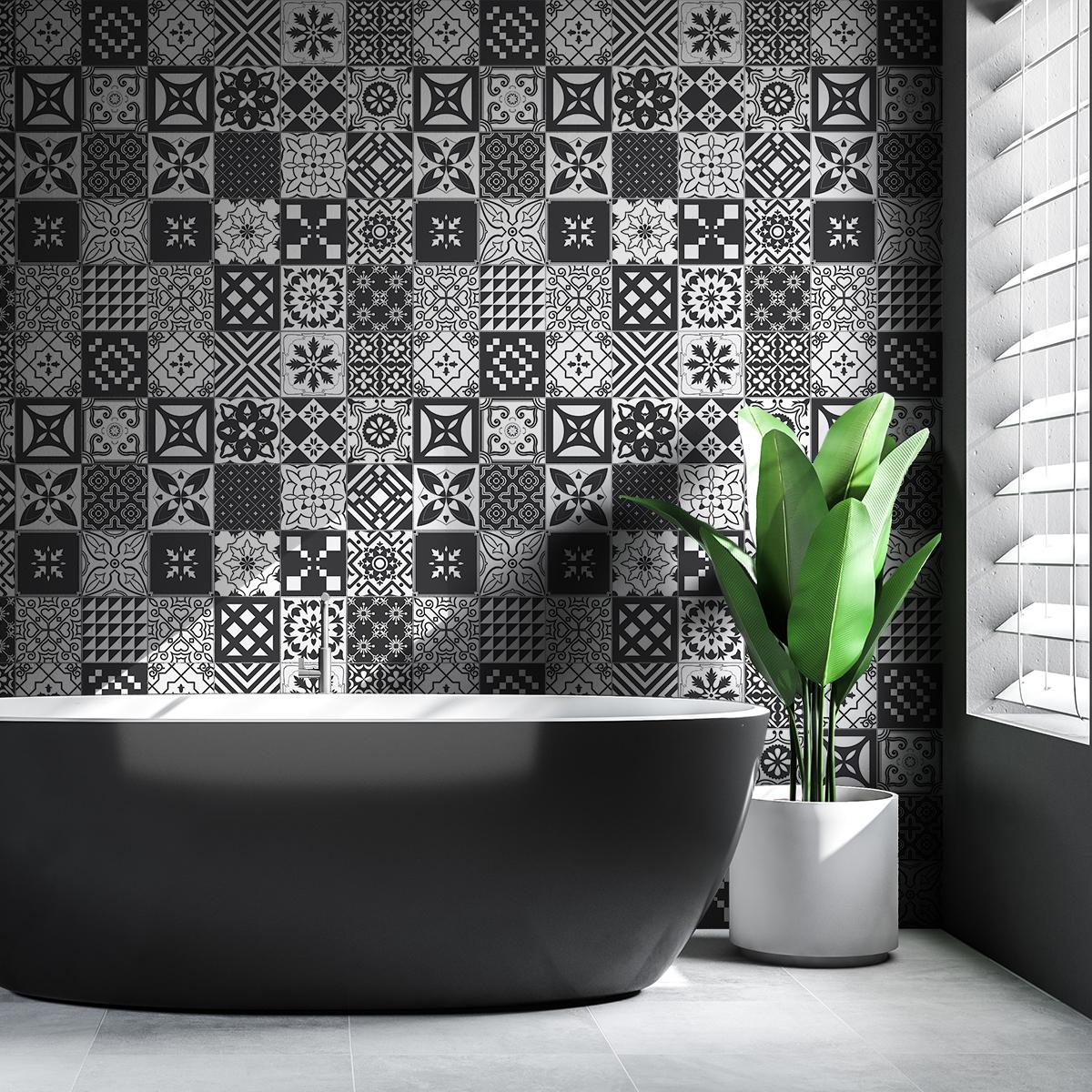 30 stickers carreaux de ciment azulejos ambrosio cuisine carrelages ambiance sticker. Black Bedroom Furniture Sets. Home Design Ideas