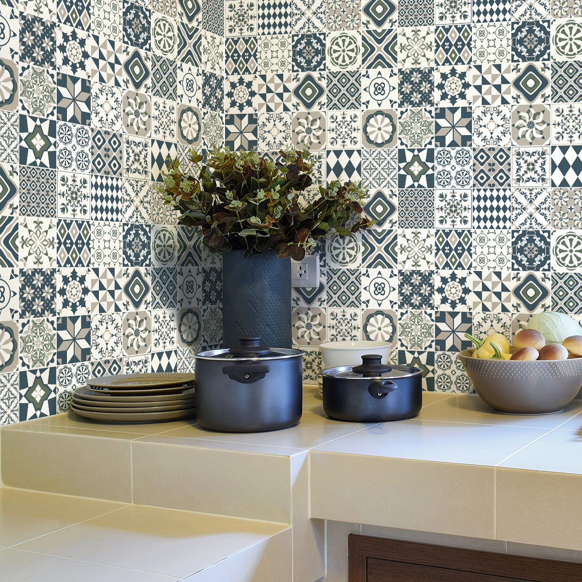 30 stickers carreaux de ciment azulejos donito cuisine carrelages ambiance sticker. Black Bedroom Furniture Sets. Home Design Ideas