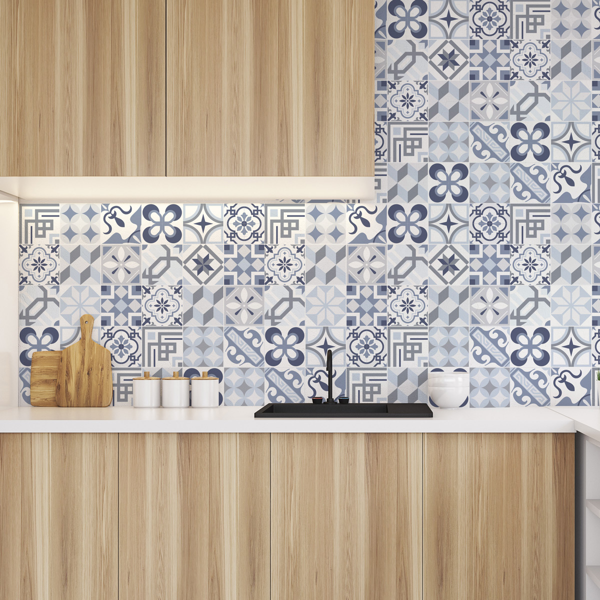 30 Adesivi Piastrelle Di Cemento Azulejos Folio Adesivo Cucina Piastrelle Ambiance Sticker