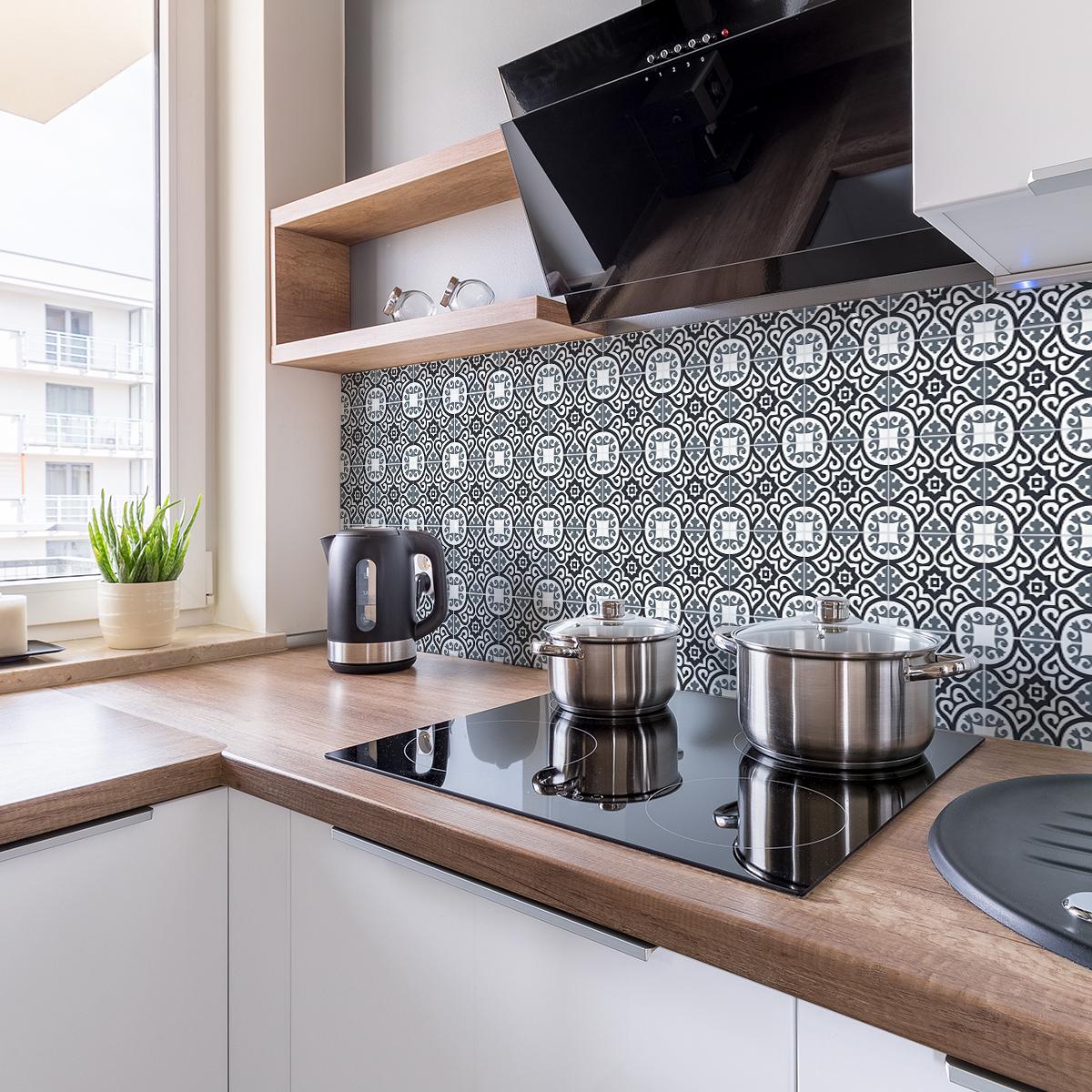 30 stickers carreaux de ciment azulejos inda cuisine carrelages ambiance sticker. Black Bedroom Furniture Sets. Home Design Ideas