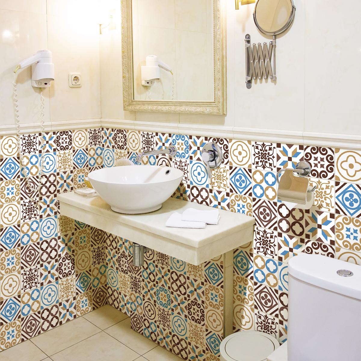 30 stickers carreaux de ciment azulejos kelia cuisine carrelages ambiance sticker. Black Bedroom Furniture Sets. Home Design Ideas