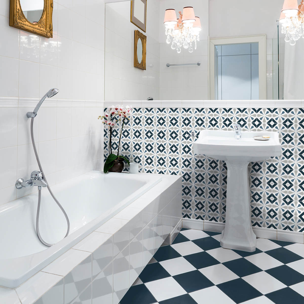 30 stickers carreaux de ciment azulejos laurena cuisine. Black Bedroom Furniture Sets. Home Design Ideas