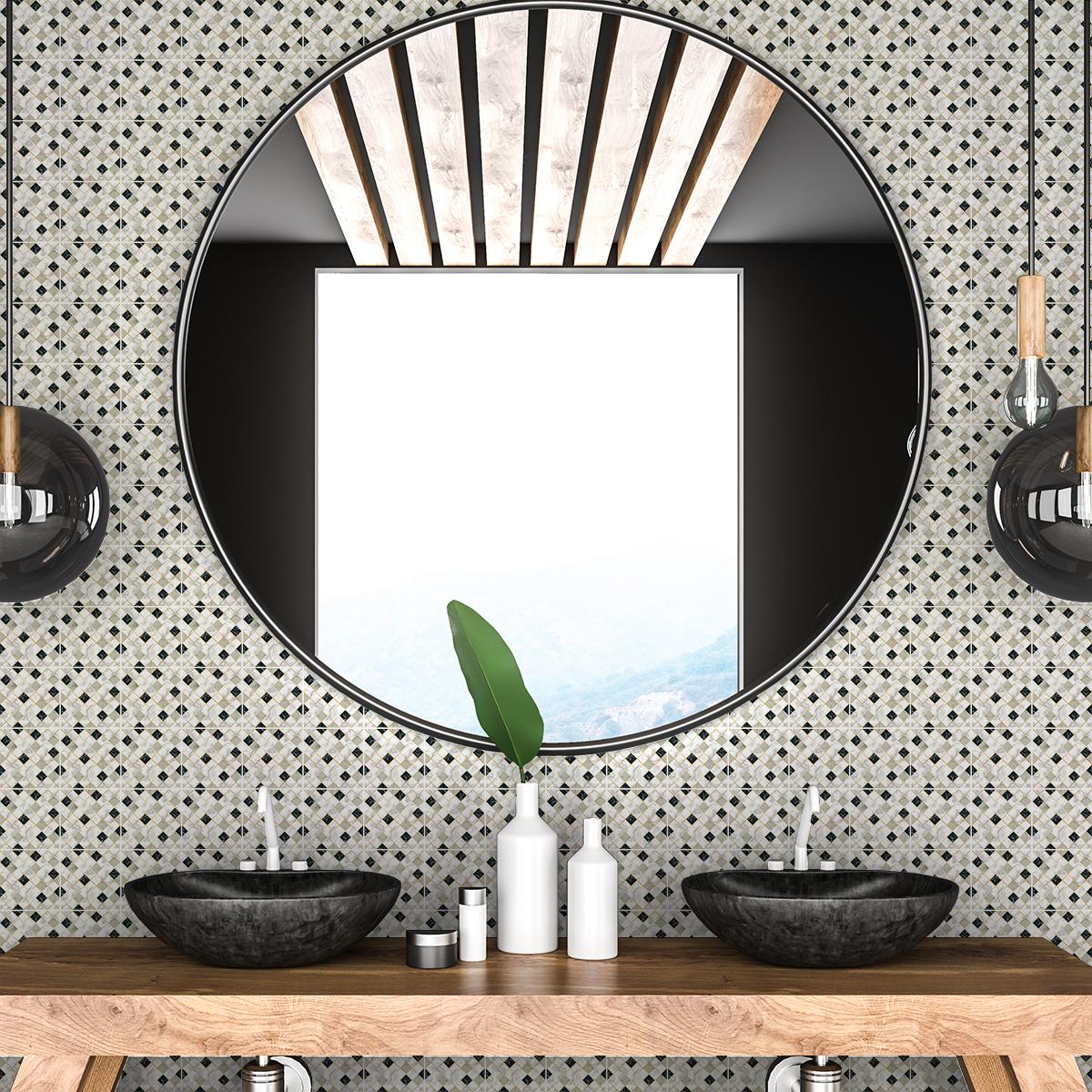 30 stickers carreaux de ciment effet marbr blanc beige et. Black Bedroom Furniture Sets. Home Design Ideas