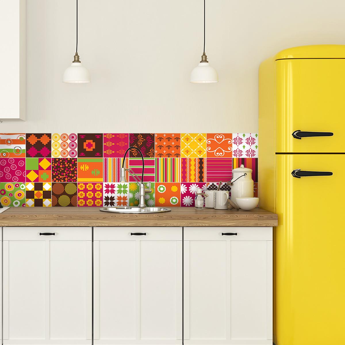 30 stickers carreaux de ciment ethnique kagoshima cuisine carrelages ambiance sticker. Black Bedroom Furniture Sets. Home Design Ideas