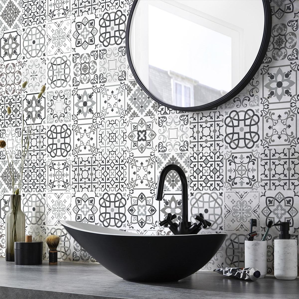 30 stickers carreaux de ciment nuances de gris bari - Stickers pour carreaux salle de bain ...
