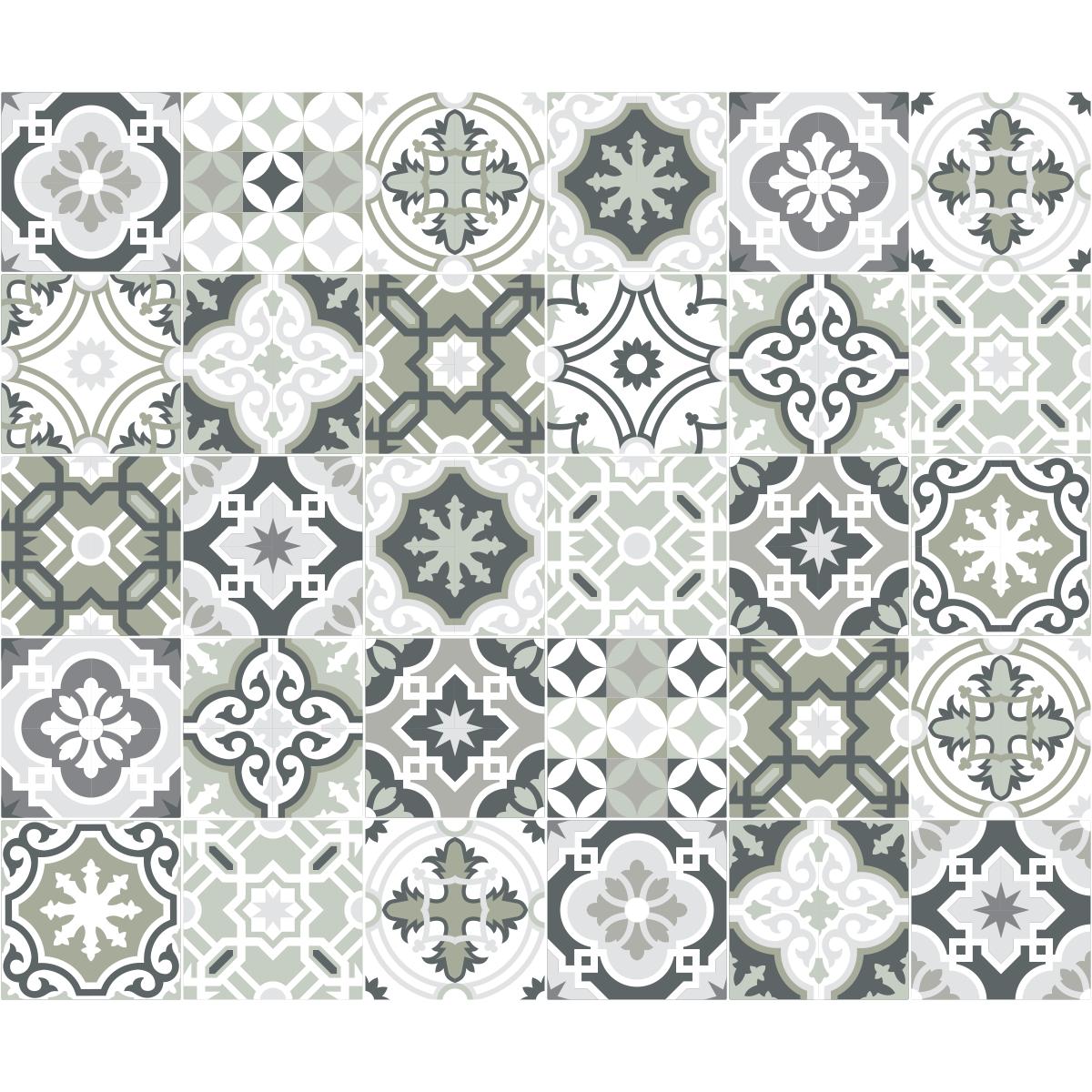 30 stickers carreaux de ciment nuances de gris oslo - Stickers pour carreaux salle de bain ...