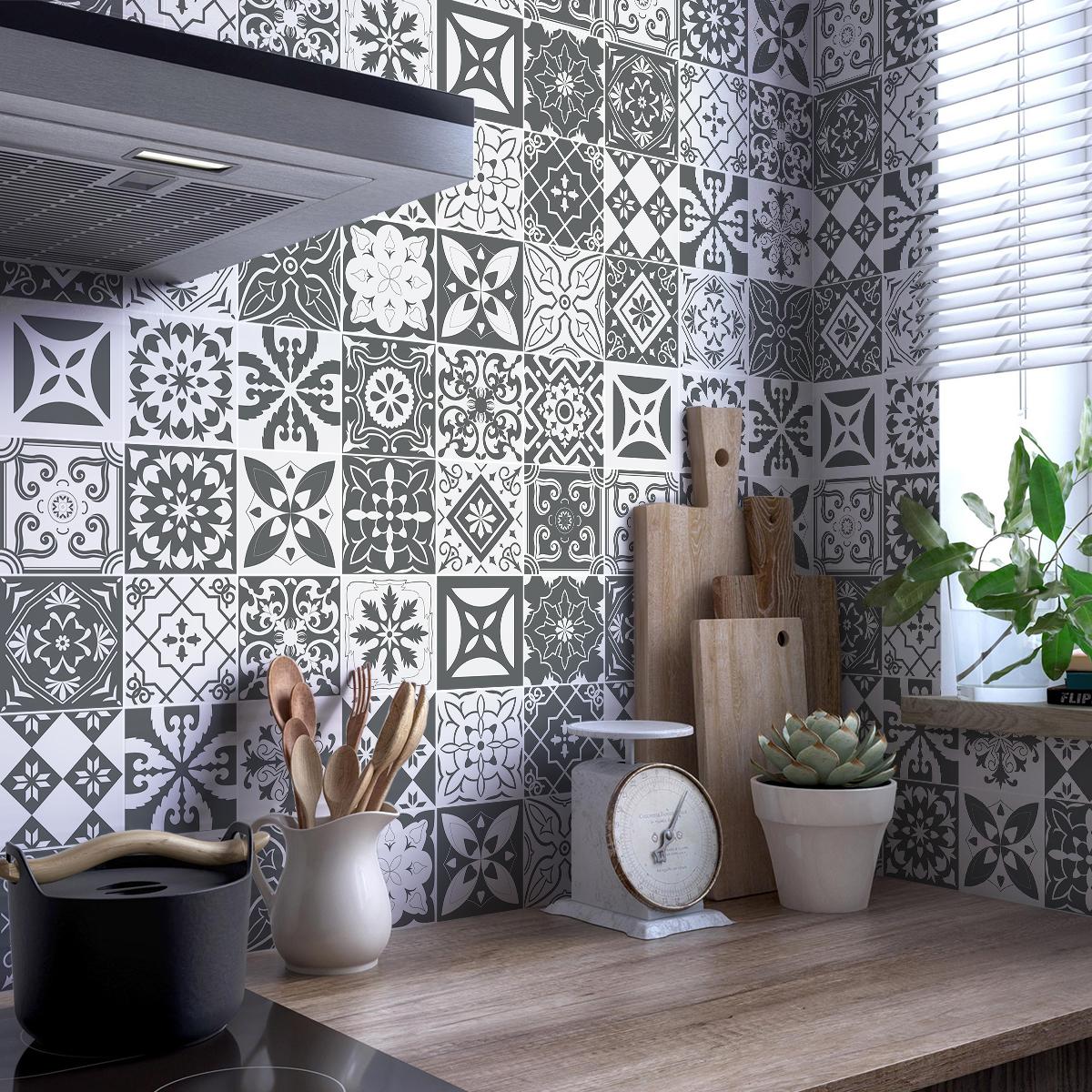 30 stickers carreaux de ciment nuances de gris varsovie - Stickers pour carrelage mural cuisine ...