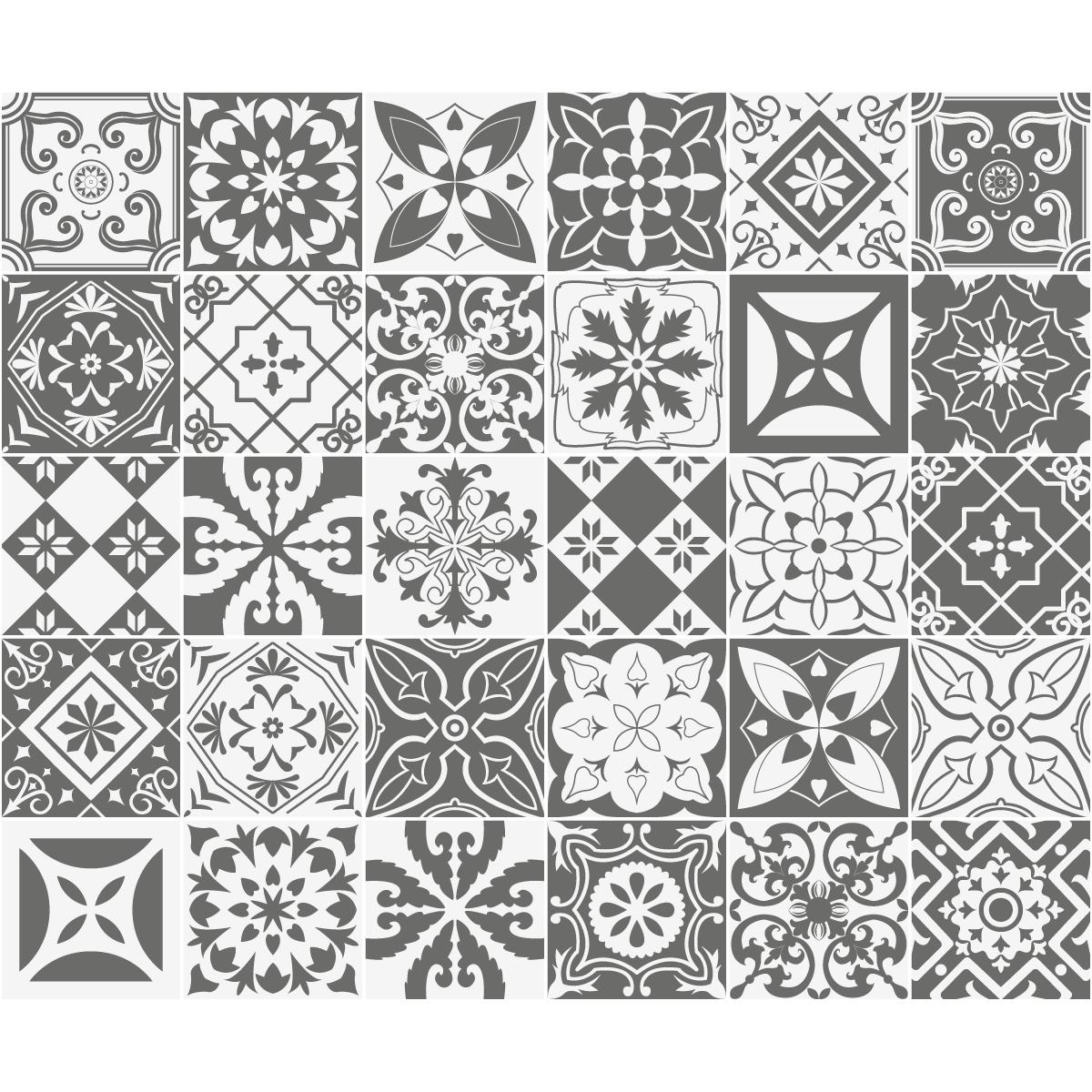 30 stickers carreaux de ciment nuances de gris varsovie. Black Bedroom Furniture Sets. Home Design Ideas