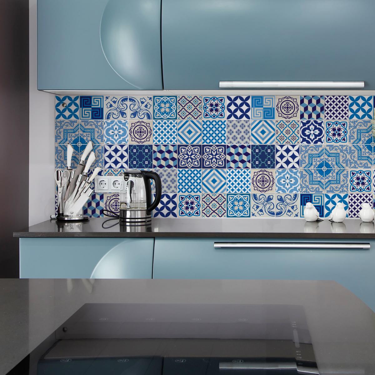 30 stickers carrelages azulejos andoni cuisine - Stickers cuisine carrelage ...